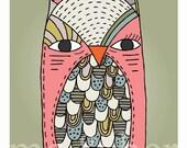 Olive Owl. Childrens art print. Pen and ink illustration.