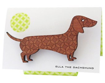 Ella the Dachshund - brooch engraved with a retro circle pattern