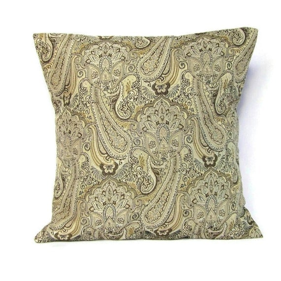 Sale Brown Gold Paisley Pillow Cover Decorative Throw Toss