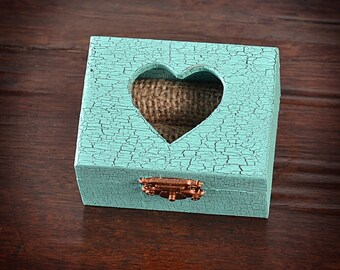 Wedding Ring Box, Ring Bearer ,Mint Ring Pillow, Rustic, Vintage style