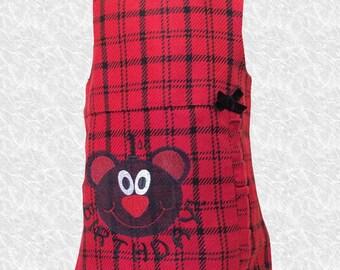 Custom plaid 1st Birthday embroidered dress