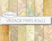 "Vintage maps 8.5x11 digital paper, ""VINTAGE MAPS"" backgrounds,antique maps, old world, globe, America, Europe, Asia, Australia, scrapbooking"