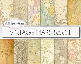 "Vintage maps 8.5x11 digital paper, ""VINTAGE MAPS"" backgrounds,antique maps, old world, globe, America, Europe, Asia, Australia, scrapbooking"