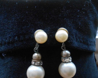 50's clip on tear drop mock pearl earring with screw closure item no245