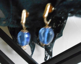 Lovely blue tear drop clip on earrings no283