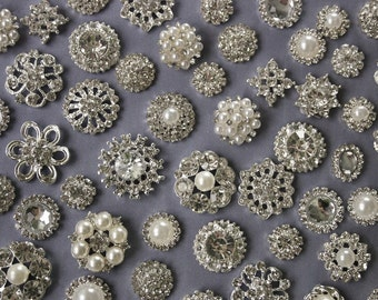 SALE - 10 Rhinestone And Pearl  Button Embellishment -  Flatback Button - Wedding Supply - Brooch Bouquet -Jewelry Supplies