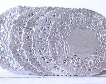 "Metallic Silver Doily - French Lace  Paper 4"" Doilies - Wedding Decoration, Vintage Wedding, Lace Doilies, Bridal Showers, Silver Wedding"