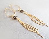 Large Gold Black Dangle Earrings