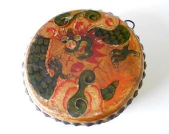Very Rare Antique Yak Skin Hand Painted Tibetan Buddhist Temple Drum