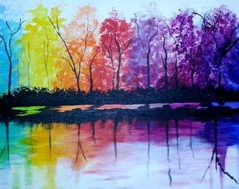 Clearance Sale! Seasons- A Life Story- Colorful landscape by Pamela Henry, rainbow colors reflected in water colorful abstract