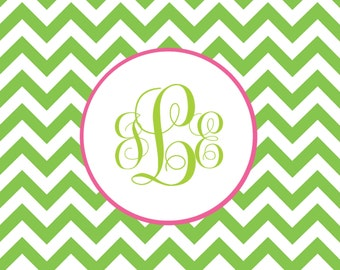 Personalized Monogram Chevron Folded Note Cards (A2)