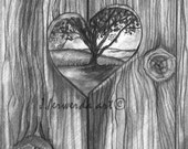 Pencil Drawing Prinit - Heart In The Fence - Day 195
