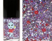 Space Party Glitter Nail Polish - Red, Purple, Black, Silver, Holo  - Handblended Sparkly Nail Color