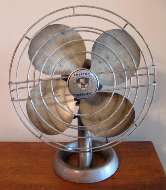 Emerson Desk Fan : Emerson vintage industrial fan electric metal desk or table