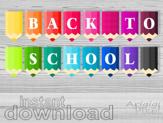 printable classroom decorative banners - back to school text - colored pencils