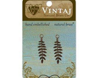 Vintaj Natural Brass 31x9mm Delicate Fern Leaves Pendant Charm Finding - 2 pieces