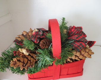 Christmas Basket, Christmas Decoration, Red Basket, Winter accessories, Red Christmas Decor, Holiday Decor, Pine Cone Decor,