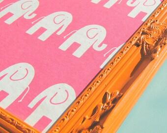 Elephants On Parade Orange and Pink Bulletin Board or Magnetic Board/ Playroom Decor/ Kids Room/ Nursery Pin Board