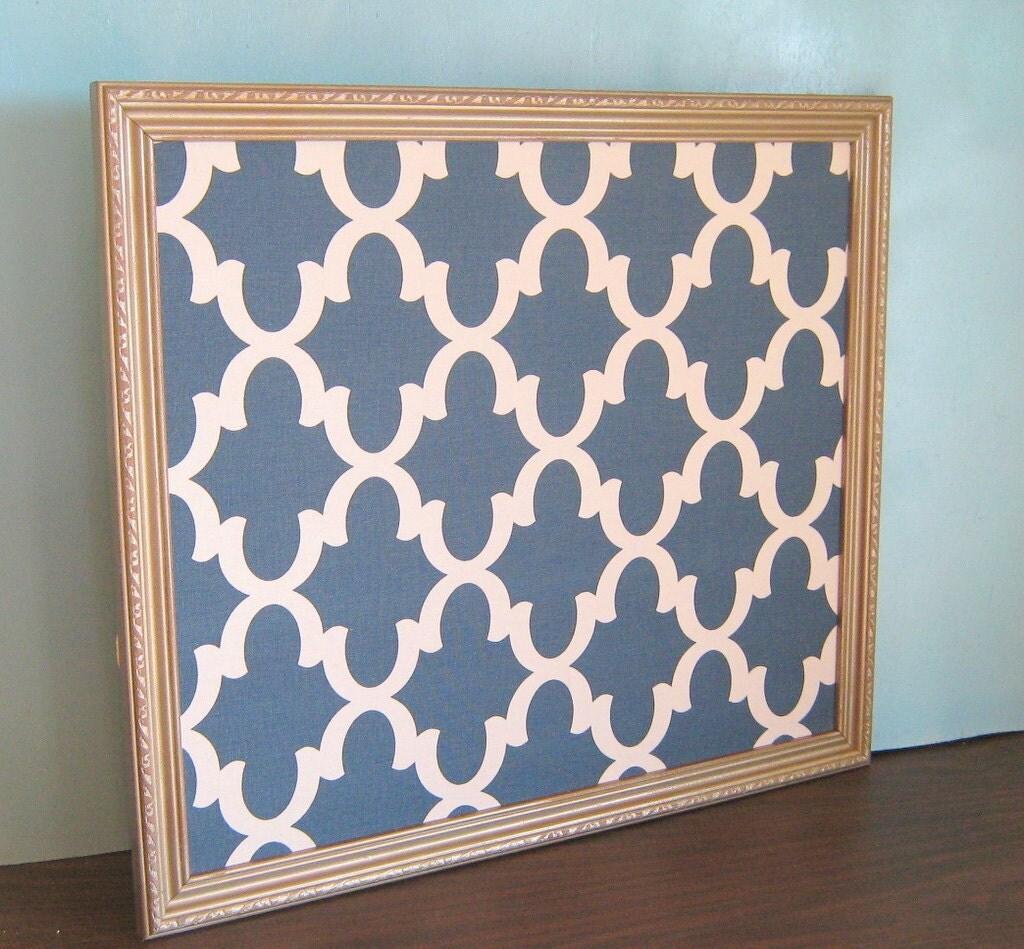 Vintage antique gold bulletin board blue fretwork fabric for Modern cork board