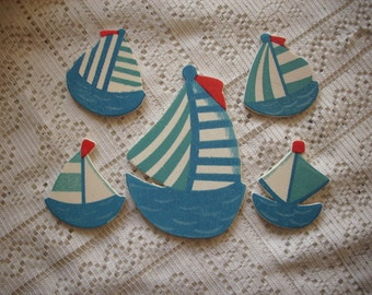 Sailboats, wood, 5 pieces (150)