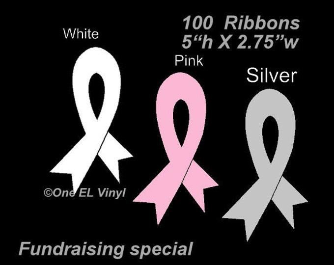 100 Cancer/Support Ribbon Decals for *FUNDRAISERS* Lot of 100 - 5 inch Tall Ribbons to support your cause
