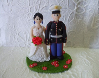 custom bride and marine groom wedding cake topper