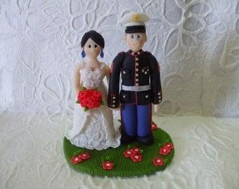custom bride and marine groom wedding cake topper