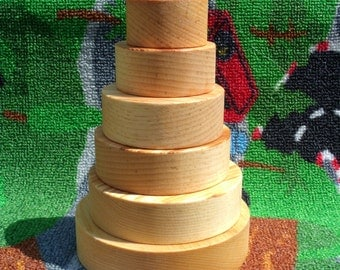 Handmade, wooden stacking toy (rings) all natural, eco-friendly