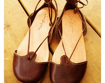 Hand Made Leather Sandal for Woman - Ma'ayan Finger Sandals Dark Brown