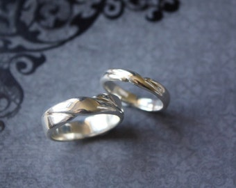Infinity wedding band/ commitment/ friendship ring set , Hand carved