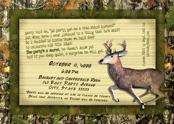 Camo/Deer Hunting Boy/Guy Customizable Birthday Invitation