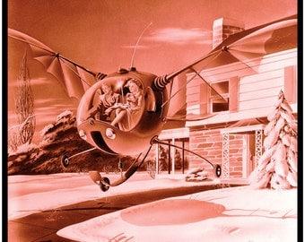 RADEBAUGH - Mid Century Futurism Print - Insectothopter - Futurist Imagineer Arthur Radebaugh - Bat Winged Space Age Suburban Ornithopter