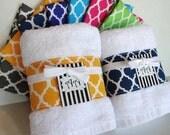 You Pick COLOR, Quatrefoil, Trimmed Towel, decorated towel, quatrefoil fabric, custom towels, bath, lattice, bathroom, bath towels, august