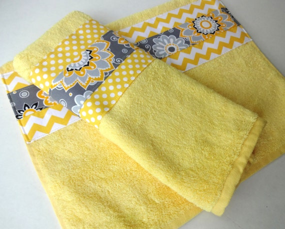 Yellow and gray chevron bathroom towels set of two yellow and grey