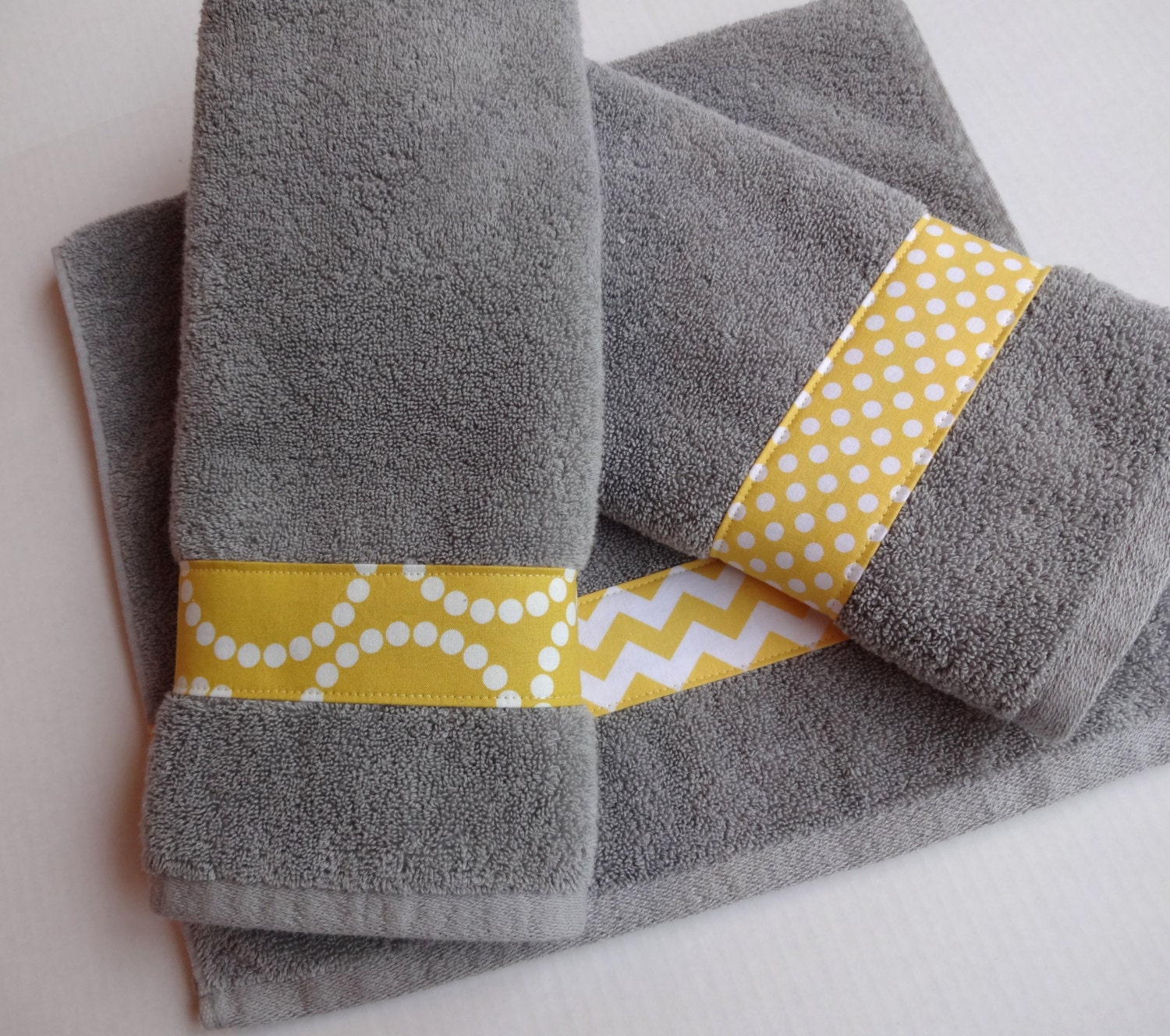 Yellow and grey towel hand towels yellow and grey chevron for Yellow and grey bathroom sets