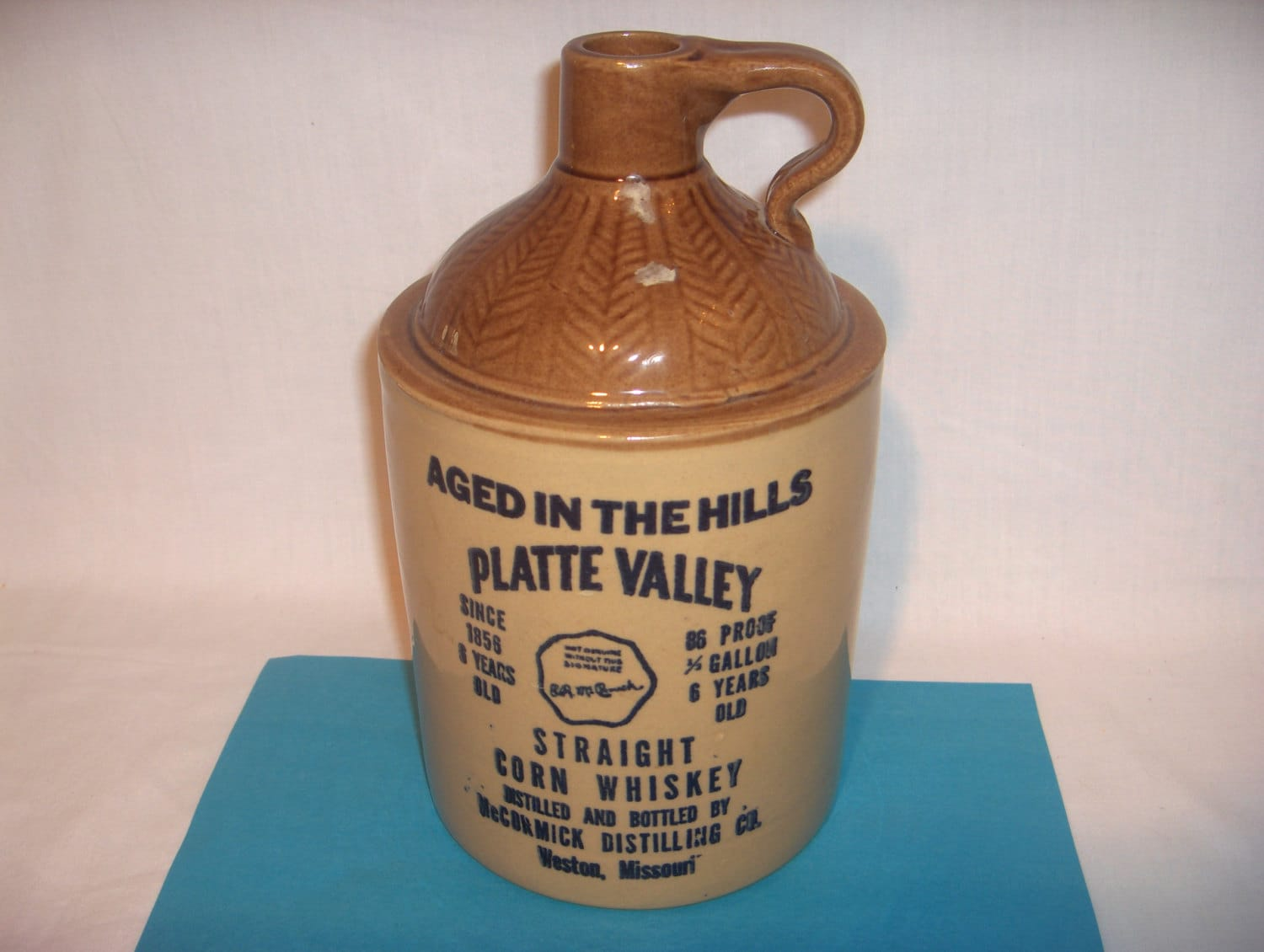 Platte Valley Half Gallon Corn Whiskey Crock Jug 1972