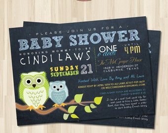 Chalkboard Baby Shower Invitation. Owls. DIY card. Digital Printable card
