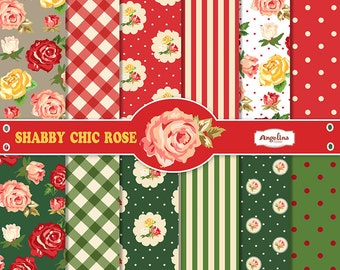 12 Shabby Chic Rose Red and Green Digital Scrapbook Papers 12x12 inch for invites, letters, card making, digital scrapbooking