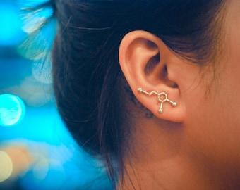 Dopamine Molecule Sterling Silver Ear Climbers