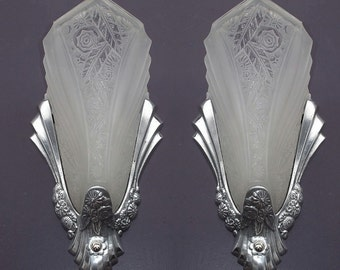 Vintage Polished SlipShade Sconces with Consolidated Glass Shades