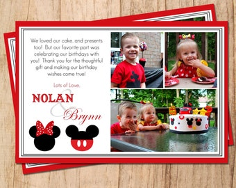 Mickey Mouse . Minnie Mouse .  Printable Birthday Thank You