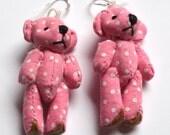 Cute pink teddy bear earrings