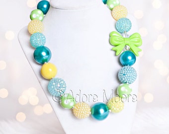 Citrus Bow, Green and Blue Necklace, Kids Necklace, Chunky Necklace, Chunky Bead Necklace, Child Girls Necklace