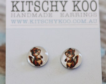 FREE SHIPPING - Chipmunk Earrings - Surgical Steel - Free Postage - Chipmunks - Sensitive Ears
