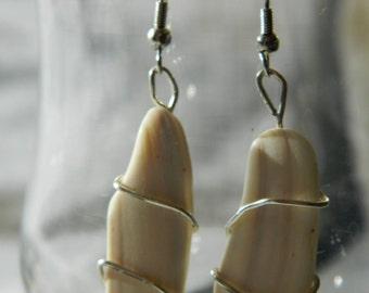 Asymmetrical shell earrings