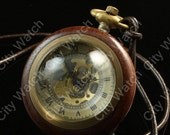Steampunk Watch--Brass and Wood  Mechanical Pocket Watch,Big crystal ball, Pocket Watch Chain- Groomsmen-mechanical watch