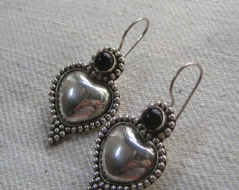 Sterling Silver Balinese Earrings With Black Onyx Stones
