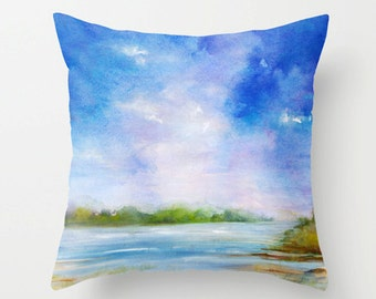 Ipswich Summer Decorative Throw Pillow- landscape Blue Pillow Covers - Home Decor- Watercolor - Blue Pillows - Sofa Pillows - Blue Bedding