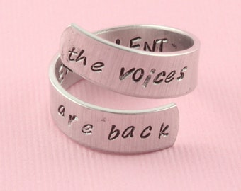SALE - The Voices are Back - Excellent Wrap Twist Ring - Aluminum Adjustable Ring - Hand Stamped Ring