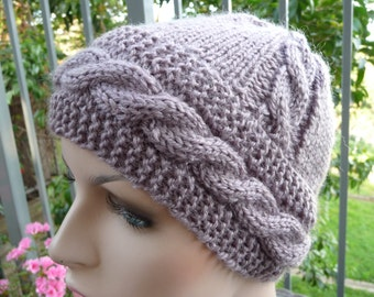 Grey Pure Wool Cable Hat  -  13146